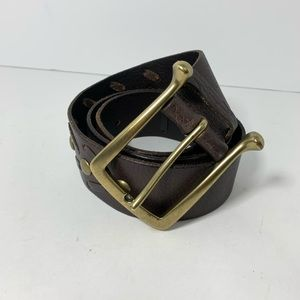 Linea pelle dark brown wide leather belt studs M